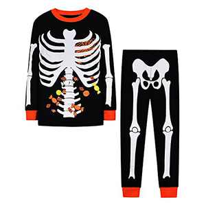 Halloween Thanksgiving Clothes Boys 2 Pcs ute Infant Baby GirlPumpkin Skull Skeleton Long Pants Outfits Set(A691,4)