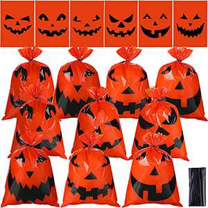 150 Pieces Halloween Candy Bags Treat Bags Pumpkin Face Party Favor Bag Trick or Treat Plastic Candy Bag with 150 Twist Tie for Candy Snack Lollipop Halloween Birthday Party Supplies, 6 Styles