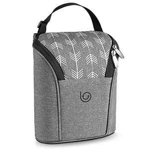 Lifevitee Insulated Breastmilk Cooler Bag Waterproof Baby Milk Bag Freezer Keeps Bottles Warm or Cool Fits 2 Large Baby Bottles Up to 9 Ounce for Daycare Travel Nursing Mothers Storage,Grey