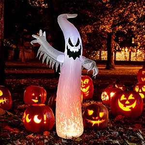 MUMTOP 8Ft Halloween Inflatables Outdoor Decorations-Inflatable Halloween - Ghost Inflatable with Build-in LED Lights Blow Up Halloween Inflatables for Yard Garden Lawn