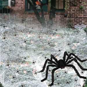 """Avicill Spider Webs Halloween Decorations, 20"""" Furry Halloween Spider, 100g Stretch Web, 100pcs Fake Spiders, Halloween Scene Props Decorations for Haunted House Garden Yard Lawn Porch"""