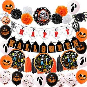 Halloween Party Decorations - Halloween Balloon set with Banner, Black Orange Confetti inflatables Balloons for Kids Halloween Theme Party Background Home Decorations lndoor