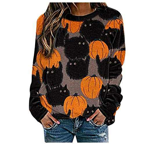 2021 New Halloween Long Sleeves Cardigan Pumpkin Sweaters, Women's Cute Halloween Print Plus Size Sweatshirt Casual Blouse Pullover Tops