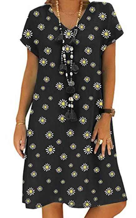 Women's Dress Summer Casual Linen Dress V Neck Short Sleeve Midi Dress Chic Vintage Ethnic A Line Dress Loose Sundress