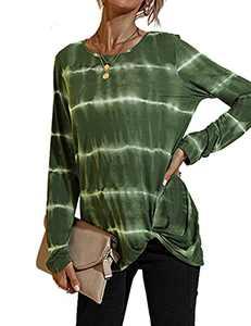 SELINK Women Casual Crewneck T-Shirts Long Sleeve Side Twist Knot Tunics Tops Blouses Green-S