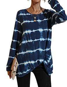 SELINK Women Casual Crewneck T-Shirts Long Sleeve Side Twist Knot Tunics Tops Blouses Blue-S