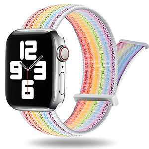 PROATL Adjustable Nylon Sport Loop Band Compatible with Apple Watch Band 38mm 40mm 42mm 44mm, Women Men Braided Weave Replacement Strap for iWatch Series 6 5 4 3 2 1 SE ( 38mm/ 40mm, Pride Edtion Nike)