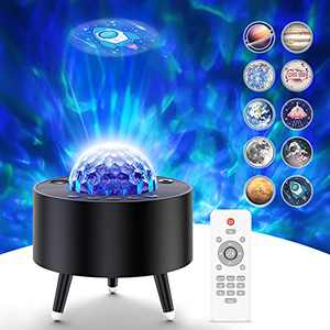 Galaxy Projector, Skylight Projector Lamp with Bluetooth Speaker & Remote Control, Starry Night Light Projector for Bedroom, Home Theater, Game Room Decor, Kids Birthday Gift (Black)