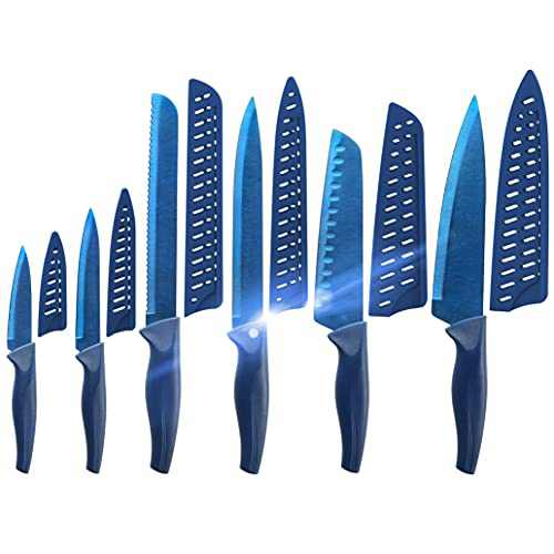 Blue Professional Kitchen Knife Chef Set, Kitchen Knife Set Stainless Steel, Kitchen Knife Set Dishwasher Safe with Sheathes