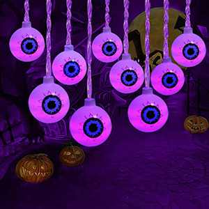 Halloween Decorations Lights,Purple 30LEDs Eyeball Halloween Light, Battery Powered Spooky Light Holiday Lights for Party Patio Indoor & Outdoor Use