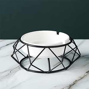 Outdoor Ashtray for Cigarettes Cute Cool Ash tray Set with Geometry Stand Durable Home Ashtrays for Patio Outside Decoration(Black)