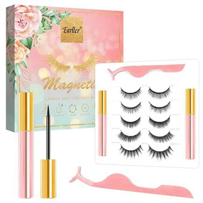 Magnetic Eyelashes with Eyeliner, 5 Pairs Natural Looking Magnetic Eyelashes, Short Small Magnetic Lashes and Upgraded Magnetic liner Kit, No Glue Needed and Easy to Remove