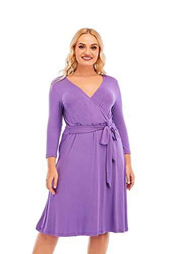 Yuetong Womens Plus Size Faux Wrap Work Dress A Line Midi Knee Length Party Dresses Purple 3XL