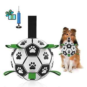 VOLTRA Dog Soccer Ball with Grab Tabs for Small & Medium Dogs -6 Inch Upgraded Interactive Dog Toys for Tug of War-Durable Indoor Outdoor Dog Toys for Your Puppies.
