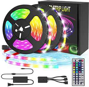 LAINOTO Led Strip Lights, 32.8ft 5050 RGB Light Strip Kits with IR Remote Control 12V Power Supply Flexible Color Changing Decoration LED Strip for Bedroom TV Home Party