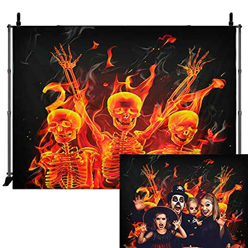 6.6×5 ft Halloween Backdrop Decorations, Scary Flaming Skeleton Reborn in Fire Background for Halloween Party Decorations Indoor Outdoor, Halloween Theme Photography Backdrop