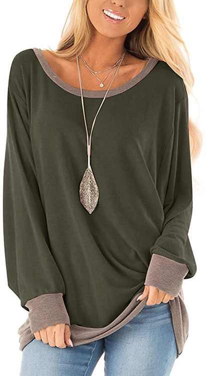Womens Long Sleeve Casual Color Block Round Neck T Shirt Sweatshirt Tunics Tops