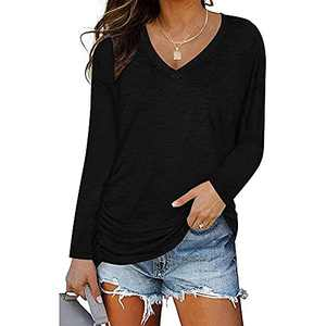 Ownow Women's Long Sleeve V Neck Pleated T Shirts Summer Loose Fit Basic Tunic with Side Shirring Casual Solid Color Dolman Top Tees