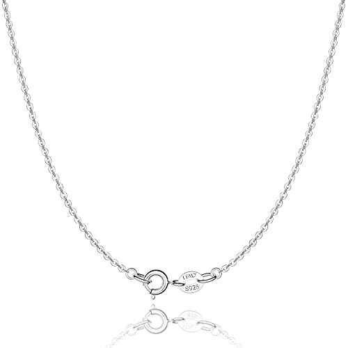 Jewlpire 925 Sterling Silver Chain Necklace for Women Girls 1.3mm Silver Round Cable Chain Thin Silver Chain Italian Silver Necklace Replacement Necklace Chain Super Shiny Strong 20 In