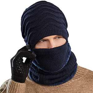 Winter Hat Men Beanie with Mask Scarf Warm 3 Piece Set Slouchy Skull Cap Soft Comfortable Knit Beanie Hats (Navy Blue, Medium)