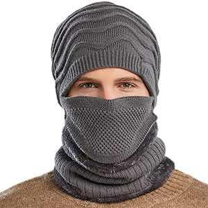 Winter Hat Men Beanie with Mask Scarf Warm 3 Piece Set Slouchy Skull Cap Soft Comfortable Knit Beanie Hats (Gray, Medium)