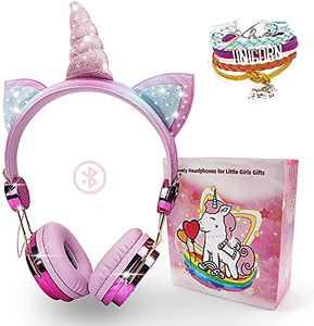 Kandice Wireless Kids Headphones, Unicorn Bluetooth Over On Ear Headset with Microphone Adjustable Headband, HD Sound Headphones for School, Birthday, Party, Xmas, Unicorn Gifts