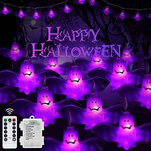 FastDeng 16.4Ft Halloween Bat String Lights, 30LED Purple Bat Lights with 8 Modes Remote & IP65 Waterproof, Battery Operated String Lights for Indoor/Outdoor Halloween Decorations