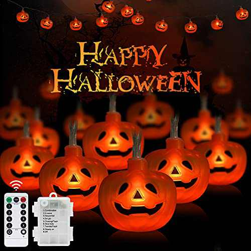 FastDeng 16.4Ft Halloween Pumpkin String Lights, 30LED 8 Modes Pumpkin Lights with Remote, IP65 Waterproof Battery Operated String Lights for Indoor Outdoor Halloween Decoration Home Festival Party