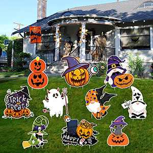 Halloween Decorations Outdoor,10 Pcs Halloween Yard Signs with Stakes,Large Pumpkin Tombstone Ghost Waterproof Halloween Props Lawn Decorations,Trick or Treat Family Halloween Party Decor