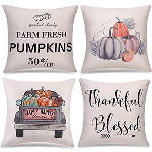 Fall Decor Fall Pillow Covers,Fall Thanksgiving Decorations for Home,Thanksgiving Pumpkin Pillow Covers 18x18 for Farmhouse Fall Decor Clearance,Thanksgiving Decorations for Home,4 Packs