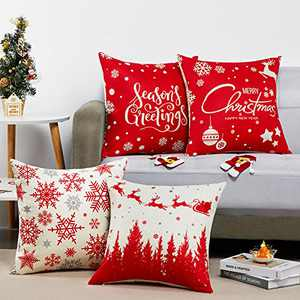Christmas Pillow Covers 18×18 Set of 4 Red Throw Pillow Cover Holiday Farmhouse Pillowcases Linen Pillow Case for Sofa Couch Xmas Decorations Pillow Covers Snow Pine Forest Santa Claus Reindeer Sled