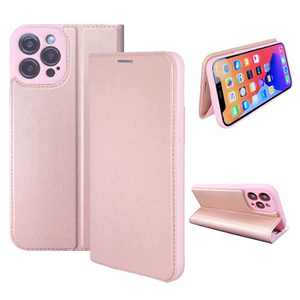 NOUSKE Hybrid PU Leather Case Compatible for iPhone 12 Pro (6.1 Inch)[Flip Wallet Case][TPU Silicone Cover][Magnet Folio Holster][Foldable Stand][Card Holder][RFID Protection],Rose Gold