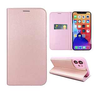 NOUSKE Hybrid PU Leather Case Compatible for iPhone 12 (6.1 Inch)[Flip Wallet Case][TPU Silicone Cover][Magnet Folio Holster][Foldable Stand][Card Holder][RFID Protection],Rose Gold