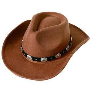 Lanzom Women Men Felt Wide Brim Western Cowboy Hats Belt Buckle Panama Hat (Khaki, Medium)