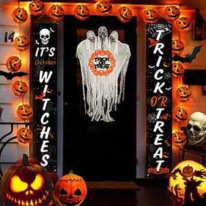 Halloween Decorations Outdoor, Inpher Trick or Treat Halloween Decor, Front Porch Door Hanging Decorations Welcome Signs for Indoor Outdoor Yard Garland Party Supplies Home Decor, 600D Fabric