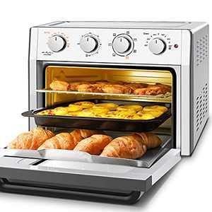 Air Fryer Toaster Oven Combo, WEESTA 7-in-1 Convection Oven Countertop, 24QT Large Air Fryer with Accessories & E-Recipes, UL Certified (Updated 3.0) (Air Fryer 24QT Silver)