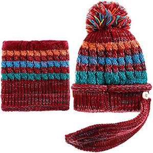 Women Winter Hat Scarf Mask 3 in 1 Fleece Lined Knitted Warm Beanies Hats Scarfs Set with Pompom (Wine Red)
