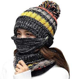 Women Winter Hat Scarf Mask 3 in 1 Fleece Lined Knitted Warm Beanies Hats Scarfs Set with Pompom (Black)
