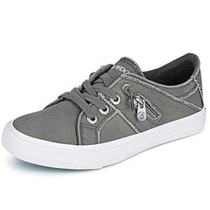 JENN ARDOR Women Sneakers Low Top Slip On Lace up Shoes Fashion Zipper Decor Canvas Flat Walking Running Shoe 7.5 Grey