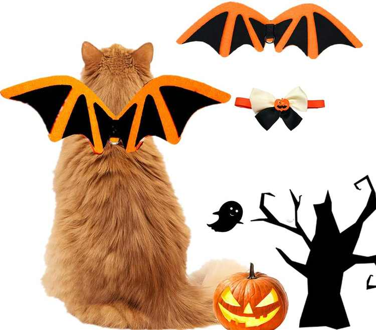 PetBatWings, Pet Bow Tie Collar, Pets Bat Costume, Pet Halloween Costume, Pet Cosplay, BatWingsfor Puppy Dogs or Cats