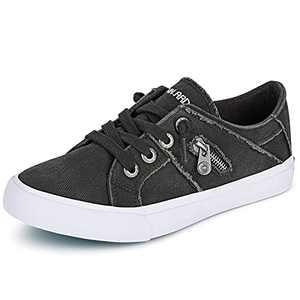 JENN ARDOR Women Sneakers Low Top Slip On Lace up Shoes Fashion Zipper Decor Canvas Flat Walking Running Shoe 8.5 Dark Grey