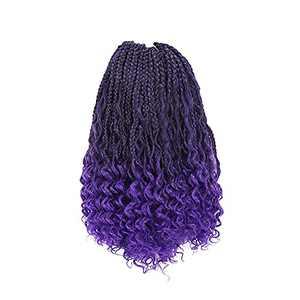 ToyoTress Goddess Box Braid Crochet Hair - 12 Inch 8 Packs T-Purple Curly End Crochet Braids Pre-looped Synthetic Braiding Hair Extensions