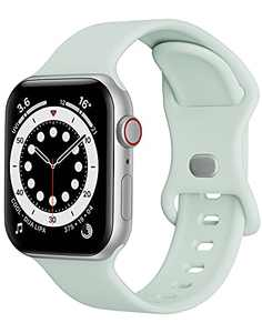 Watch Band Compatible with Apple Watch Band 42mm 44mm Women Men iWatch Band Soft Silicone Sport Strap Wristband Compatible with Apple Watch Series 6 5 4 3 2 1 SE (Light Green,42/44mm,L)