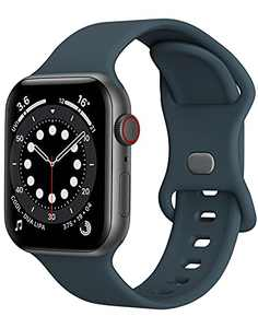 Watch Band Compatible with Apple Watch Band 42mm 44mm Women Men iWatch Band Soft Silicone Sport Strap Wristband Compatible with Apple Watch Series 6 5 4 3 2 1 SE (Dark Green,42/44mm,L)