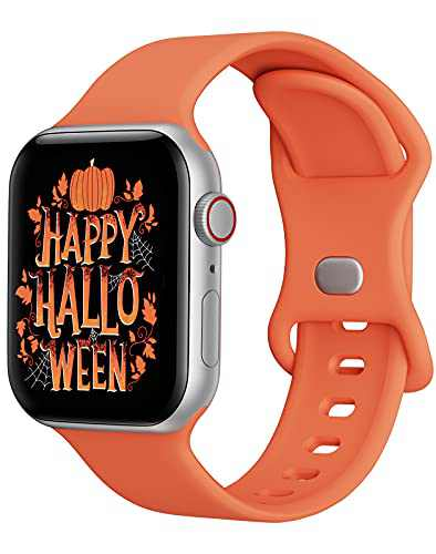 Watch Band Compatible with Apple Watch Band 42mm 44mm Women Men iWatch Band Soft Silicone Sport Strap Wristband Compatible with Apple Watch Series 6 5 4 3 2 1 SE (Orange,42/44mm,L)