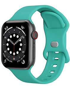 Sport Band Compatible with Apple Watch Bands 38mm 40mm iWatch band Soft Silicone Strap Wristbands Compatible with Apple Watch Series 6 5 4 3 2 1 SE Women Men (Teal Green,38/40mm,S/M)