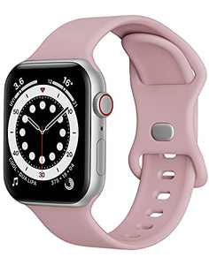 Watch Band Compatible with Apple Watch Band 42mm 44mm Women Men iWatch band Soft Silicone Sport Strap Wristband Compatible with Apple Watch Series 6 5 4 3 2 1 SE (Light Purple,42/44mm,L)