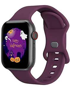 Sport Band Compatible with Apple Watch Bands 42mm 44mm iWatch band Soft Silicone Strap Wristbands Compatible with Apple Watch Series 6 5 4 3 2 1 SE Women Men (Dark Purple,42/44mm,L)