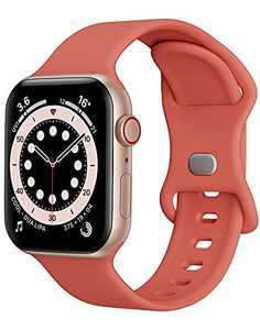 Watch Band Compatible with Apple Watch Band 42mm 44mm Women Men iWatch Band Soft Silicone Sport Strap Wristband Compatible with Apple Watch Series 6 5 4 3 2 1 SE (Rose,42/44mm,L)