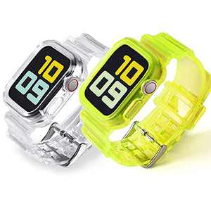 PROATL Protective Bumper Case with Strap Band Compatible with Apple Watch Band 38mm 40mm, Men Women Clear Soft Sport Silicone Replacement Wristbands for iWatch Series 6 5 4 3 2 1 SE (Transparency/Yellow)